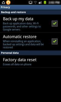 Сбросить настройки Android