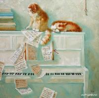 Я сижу за пианино<br /> Вот уже который час.<br /> Я сижу с тоскливой миной<br /> И учу «собачий вальс».<br /> Та-рам-пам,<br /> Та-рам-пам…<br /> Вдруг, на пианино прямо,<br /> Наша кошка улеглась!<br /> Наиграла лапкой гамму<br /> И мурлыкать принялась.<br /> Почеши меня за ушком –<br /> Приоткрыла кошка глаз<br /> Но это ж, кошка, не игрушки<br /> Это же – собачий вальс!<br /> Я сказал ей – брысь отсюда!<br /> И принялся объяснять<br /> Что всю жизнь, наверно, буду<br /> Этот вальс запоминать<br /> И зачем собаки только<br /> Сочинили этот вальс!<br /> Танцевали б лучше польку<br /> Или просто пели джаз…<br /> Наклонила кошка морду<br /> Замурлыкала, ластясь:<br /> Знаешь, что совсем свободно<br /> Учат все кошачий вальс?<br /> Неужели ты не слышал<br /> Нашу музыку? Ну, что ж…<br /> Этот вальс играют крыши,<br /> Эти ноты знает дождь,<br /> Знают улицы и поле,<br /> Знают реки и дворы<br /> В нем – свобода и раздолье,<br /> Радость дружбы и игры<br /> Одиночество и гордость<br /> Ветер, скорость и полет<br /> Знает ночь его аккорды<br /> Знают звезды песню нот<br /> Каждый крошечный котенок,<br /> Лишь научится смотреть<br /> Только выйдя из пеленок<br /> Сможет вальс тебе напеть…<br /> …Мама в комнату зашла,<br /> Смотрит мама – вот дела<br /> Вместе с кошкою на пару<br /> Без фоно и без гитары<br /> На диване развалясь<br /> Мы поем кошачий вальс:<br /> Мур-мур-мур<br /> Мур-мур-мур….</p> <p>Помощник Машиниста</p> <p>Художник Мария Павлова