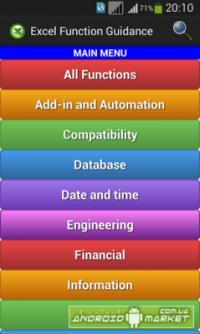 Excel Function Guidance</p> <p>Excel Function Guidance – полезная программа, которая представляет из себя пособие по использованию и созданию формулы в Excel.</p> <p>http://android-market.com.ua/soft-android/office/7863-excel-function-guidance.html