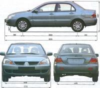 Рис. 1.1. Габаритные размеры автомобиля ...