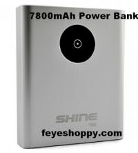 http://feyeshoppy.com/power-bank/portable-battery-charger/high-capacity-ps-shine-portable-mobile-charger-power-bank-7800-mah<br /> Feyeshoppy 7800 mAh power bank has a capacity of 7800 mAh and output capacity of 3.1 mAh. It has featuredwith two different USB ports to charge two devices simultaneously without interruption of power or current. Its inbuilt lightening connector can directly charge iphone5s, iPhone 5S, iPhone 5, iPad (4th generation), iPad mini, iPod Touch (5th generation), iPod Nano (7th generation) while the male USB connector is useful for recharging vivid anodized aluminum alloy body. Its packing box includes the charging cable to support external device with the power bank as well as a user manual to guide user about its usage and functions.