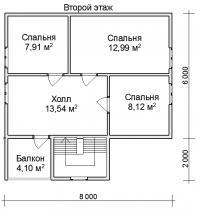 Дом из бруса 8х8 с террасой и балконом