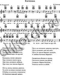 «Катюша» ноты, аккорды